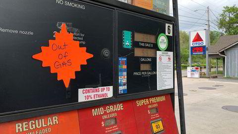 En tom-for-gass lapp på en gasstasjon i Nord-Carolina etter at Colonial Pipeline ble hacket 11. mai.