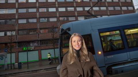 I september kjøpte Rikke Blakstad en toroms i denne blokken på Grünerløkka i Oslo og gleder seg til overtagelse i desember.