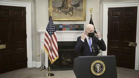 Joe Biden holdt tale om hackerangrepet mot Colonial Pipeline torsdag kveld.