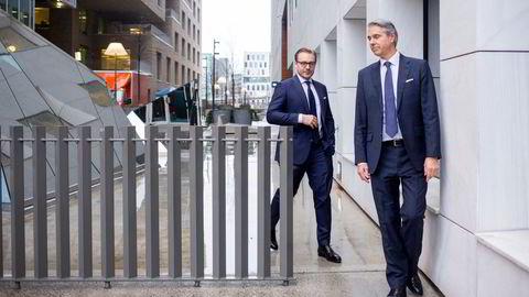 Leder Alexander Opstad (til venstre) i DNB Markets hadde ansvaret for å holde Norges største meglerhus i gang da koronaviruset slo inn over Norge – og finansmarkedet. Peter Behncke leder avdelingen for kapitalinnhenting, børsnoteringer og oppkjøp – investment banking – og det meste ble satt på vent i mars.