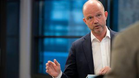 NHOs administrerende direktør Ole Erik Almlid under pressetreffet med kravoverlevering da årets tariffoppgjør starter onsdag. Til DN uttrykker han bekymring for klimameldingen som behandles på Stortinget.