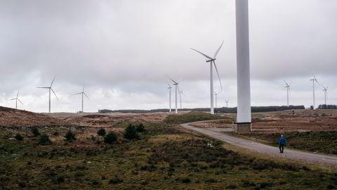 Ikke bare selve utbyggingsområdet blir rasert av veier og turbiner, men også områder utenfor, med nye kraftledninger og tilførselsveier, skriver artikkelforfatteren. Bildet er fra Høg-Jæren energipark, med 32 turbiner.