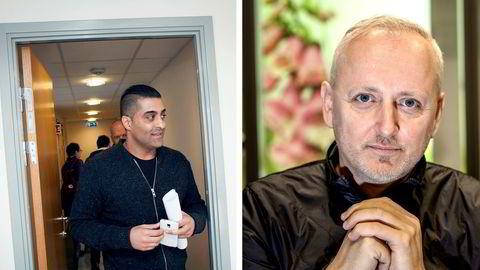Tommy Sharif (til venstre) har ikke betalt en krone av erstatningen han ble dømt til å betale til Stormberg-eier Steinar J. Olsen (til høyre). Nå er kravet oversendt namsmannen samtidig som politiet har ilagt Sharif bot for hensynsløs adferd.