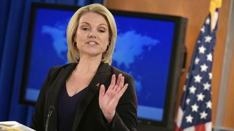 Talsperson Heather Nauert ved Det hvite hus er skarp i kantene overfor Russland.