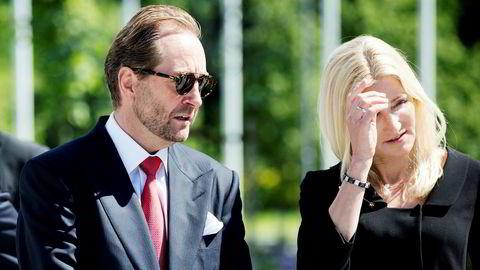 Kjell Inge Røkke og Anne Grete Eidsvig flytter fra hverandre. Her til stede under åpningen av Skandinavias største skulpturpark på Fornebu i 2016.