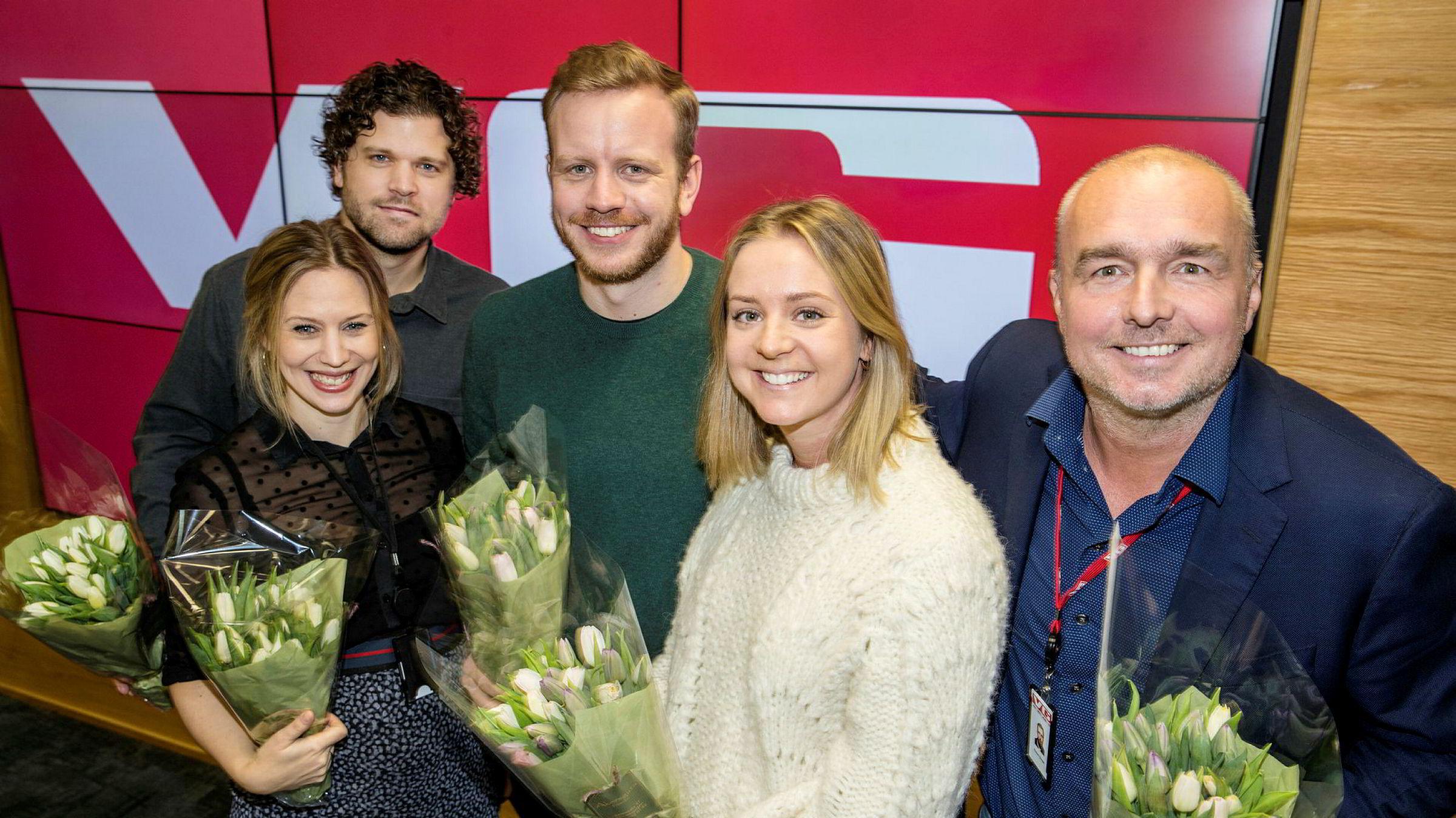 VG ansetter seks nye sjefer. Fra venstre: Eva-Therese Loo Grøttum, Eirik Borud, Mathias Jørgensen, Randi Elise Midtskogen og Robert Simsø.