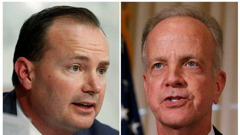 De republikanske senatorene Mike Lee (til venstre) og Jerry Moran sier nei til revidert helsereform.