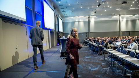 Viseadministrerende direktør i Vipps, Elisabeth Haug, snakket om at Vipps utfordres av Facebook og Apple på DNs konferanse om finansteknologi.