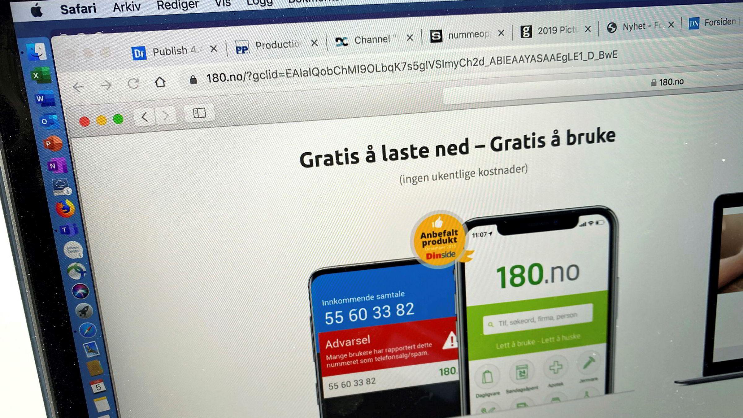 180. no er Norges mest nedlastede applikasjon for å sjekke hvem det er som ringer fra ukjente numre.