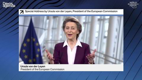 President for Europakommisjonen Ursula von der Leyen vektla kampen for å redde demokratiet i tillegg til miljøet sin tale til World Economic Forum.
