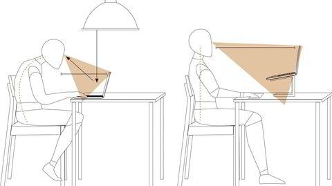 Hjemmesitting. Små grep kan gjøre en stor forskjell på hjemmekontoret. Pass på at skjermen er plassert på riktig avstand og i riktig høyde. Hvis kjøkkenlampen gir et skarpt lys, som skaper reflekser i skjermen, er det bedre å bruke en vanlig bordlampe.
