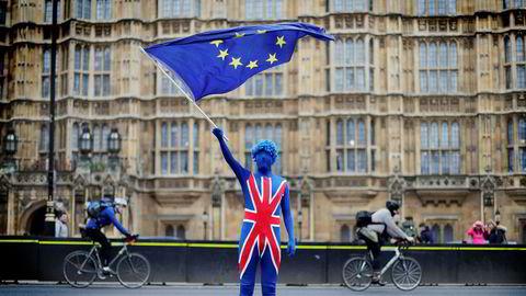 En EU-tilhenger demonstrerte utenfor parlamentet i London 29. mars – nøyaktig ett år før britene skal være ute av EU.