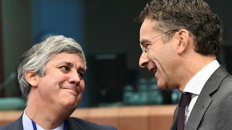 Portugals finansminister Mario Centeno (til v.) overtar som leder for Eurogruppen etter Jeroen Dijsselbloem fra Nederland.