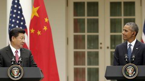 Her er USAs president Barack Obama og Kinas president Xi Jinping på en pressekonferanse tidligere i høst. Foto: