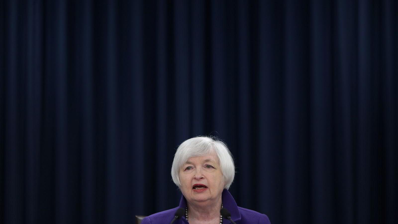 USAs sentralbanksjef Janet Yellen på onsdagens pressekonferanse.