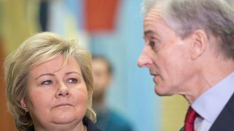Statsminister Erna Solberg og Ap-leder Jonas Gahr Støre sliter med oppslutningen.