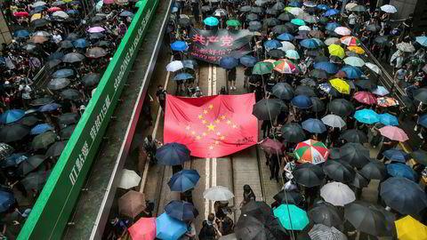 Dette bildet ble tatt under en demonstrasjon i Hongkong i slutten av august.