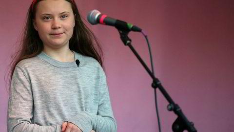 Den svenske miljøaktivisten Greta Thunberg deltok på Extinction Rebellion-protesten ved Marble Arch i London i helgen.
