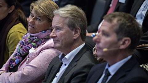 Konserndirektør i Statoil Margareth Øvrum mener kritikken fra underleverandørene til Statoil ikke var uberettiget. Her sammen med Torkild R. Reinertsen og Jarand Rystad på energikonferansen til DN. Foto: Aleksander Nordahl