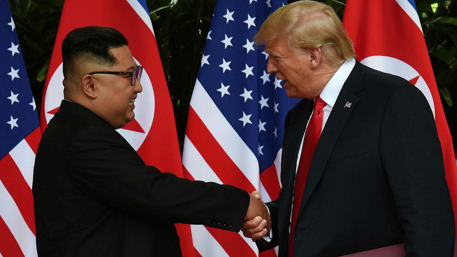 Donald Trump, her fra tirsdagens møte med Nord-Koreas leder Kim Jong-un.