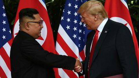 Donald Trump, her fra tirsdagens møte med Nord-Koreas leder Kim Jong-un. Foto: ANTHONY WALLACE/AFP/NTB Scanpix