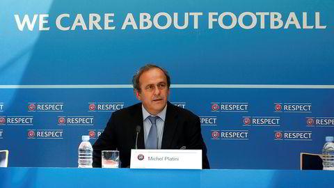 Tidligere UEFA-topp og fransk landslagspiller Michel Platini, her fra et arrangement i Monaco i 2015.