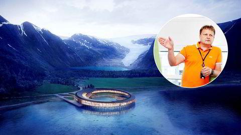 Jan Gunnar Mathisen er sjef i selskapet Miris, som blant annet planlegger dette spektakulære og miljøvennlige hotellet ved Svartisen. Hotellet er tegnet av arkitektkontoret Snøhetta. Finansieringen av dette prosjektet er ikke startet.
