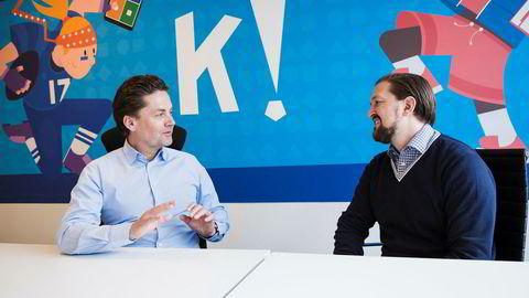 Styreleder Eilert Hanoa og administrerende direktør Åsmund Furuseth i Kahoot.