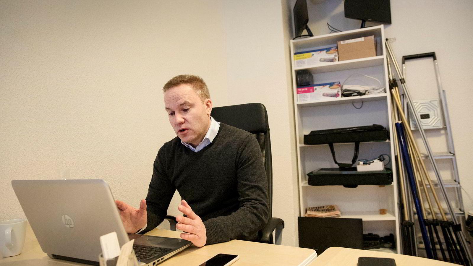 Ansvarlig redaktør i Resett, Helge Lurås, i nettstedets lokaler i Oslo sentrum.