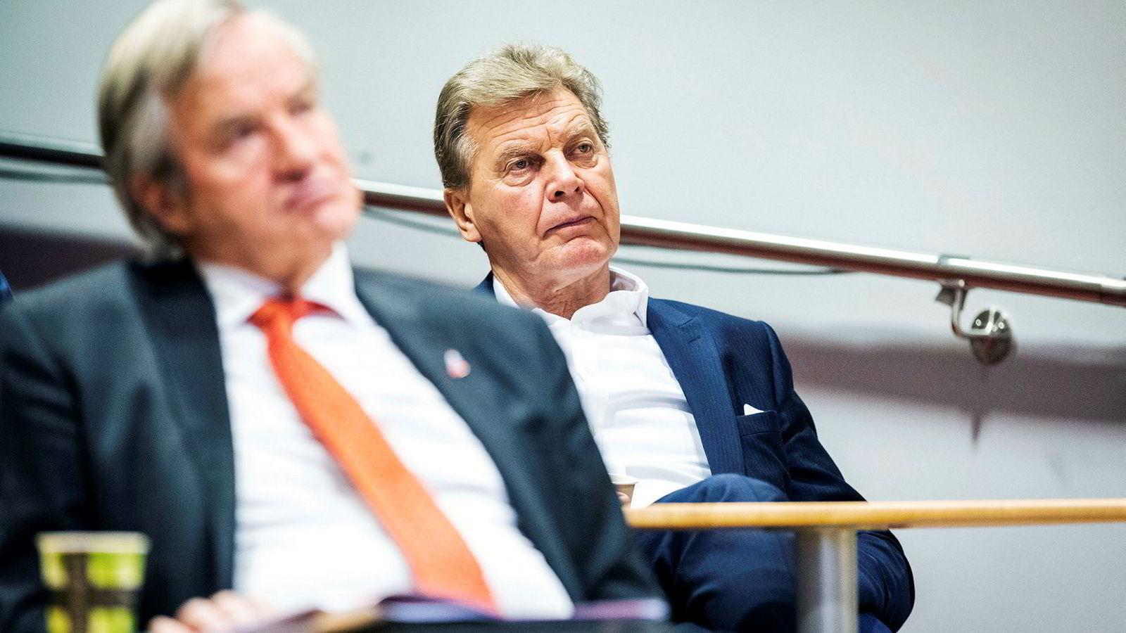 Konsernsjef Bjørn Kjos, til venstre, og styreleder Bjørn H. Kise i Norwegian.