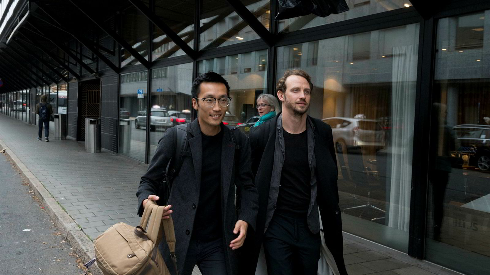 Gründerne Tom Xiong (fra venstre) og Jacob Lovén deltok på Dagens Næringslivs fintech-konferanse denne uken.