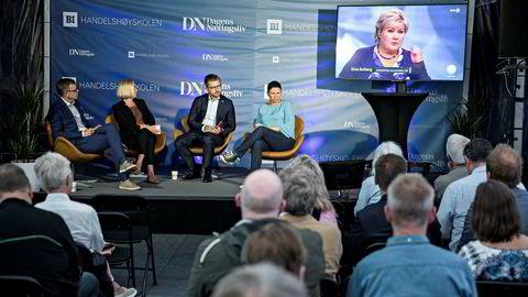 Hva skjedde under partilederdebatten? Marit Arnstad (Senterpartiet), Sveinung Rotevatn (V) og Heidi Nordby Lunde (H) diskuterte under ledelse avDNs politiske redaktør, Kjetil B. Alstadheim. Foto: Aleksander Nordahl