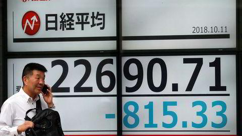 Det er bredt børsfall i hele Asia på torsdag - ledet av teknologisektoren. Nikkei-indeksen ved Tokyo-børsen falt kraftig da handelen åpnet.