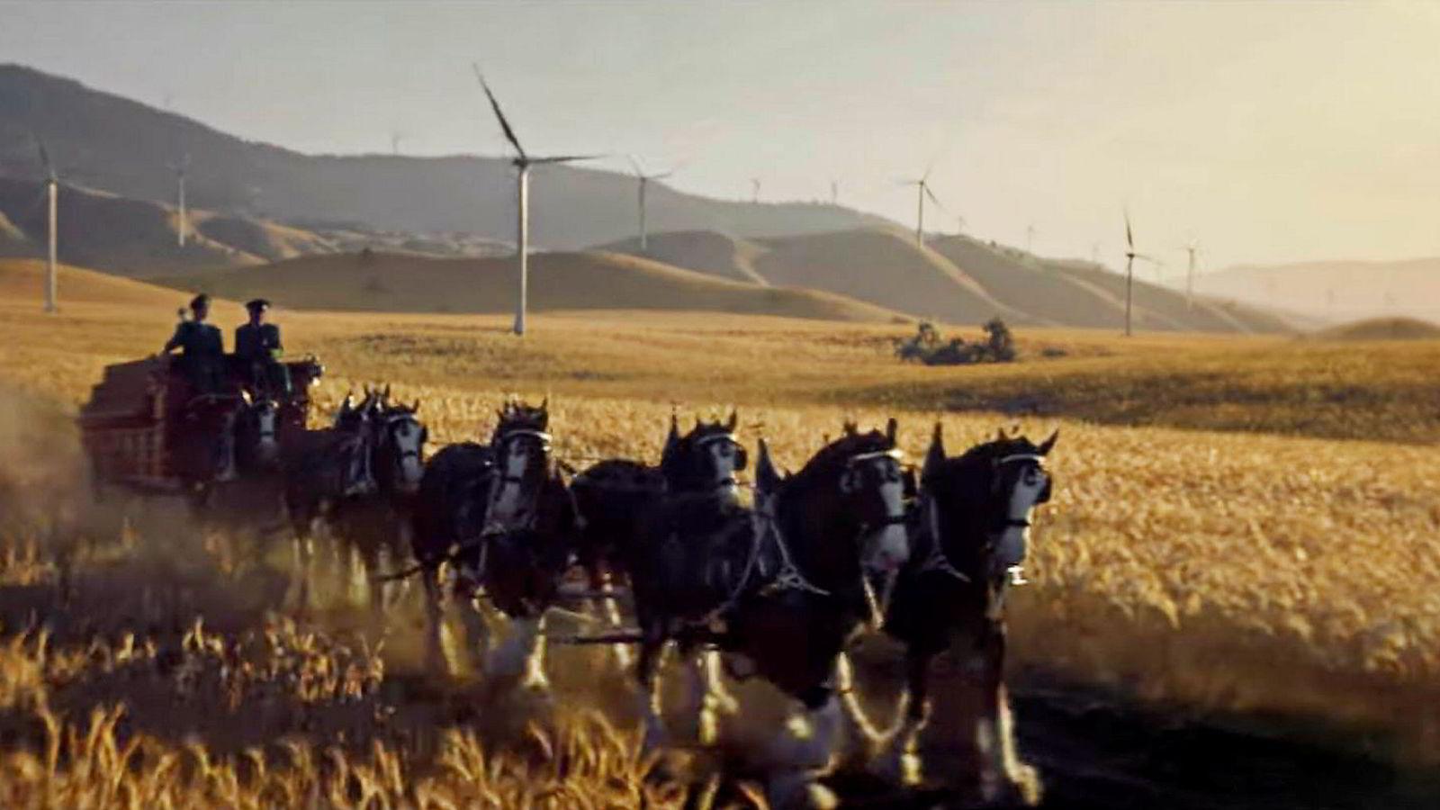 Ølmerket Budweiser markedsførte seg under Super Bowl-finalen i USA med at selskapet satser på fornybar energi.