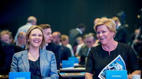 Fremskrittspartiet er det partiet på Stortinget som bruker klart mest penger på velferdstiltak. Bildet viser Sylvi Listhaug og partileder Siv Jensen under Fremskrittspartiets landsmøte på Gardermoen.