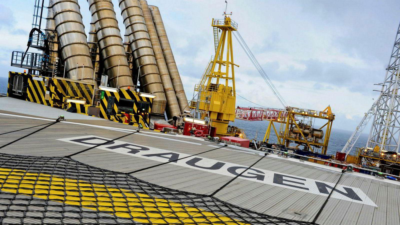 Draugen var det første oljefeltet i drift nord for 62. breddegrad. Opereres av Shell.