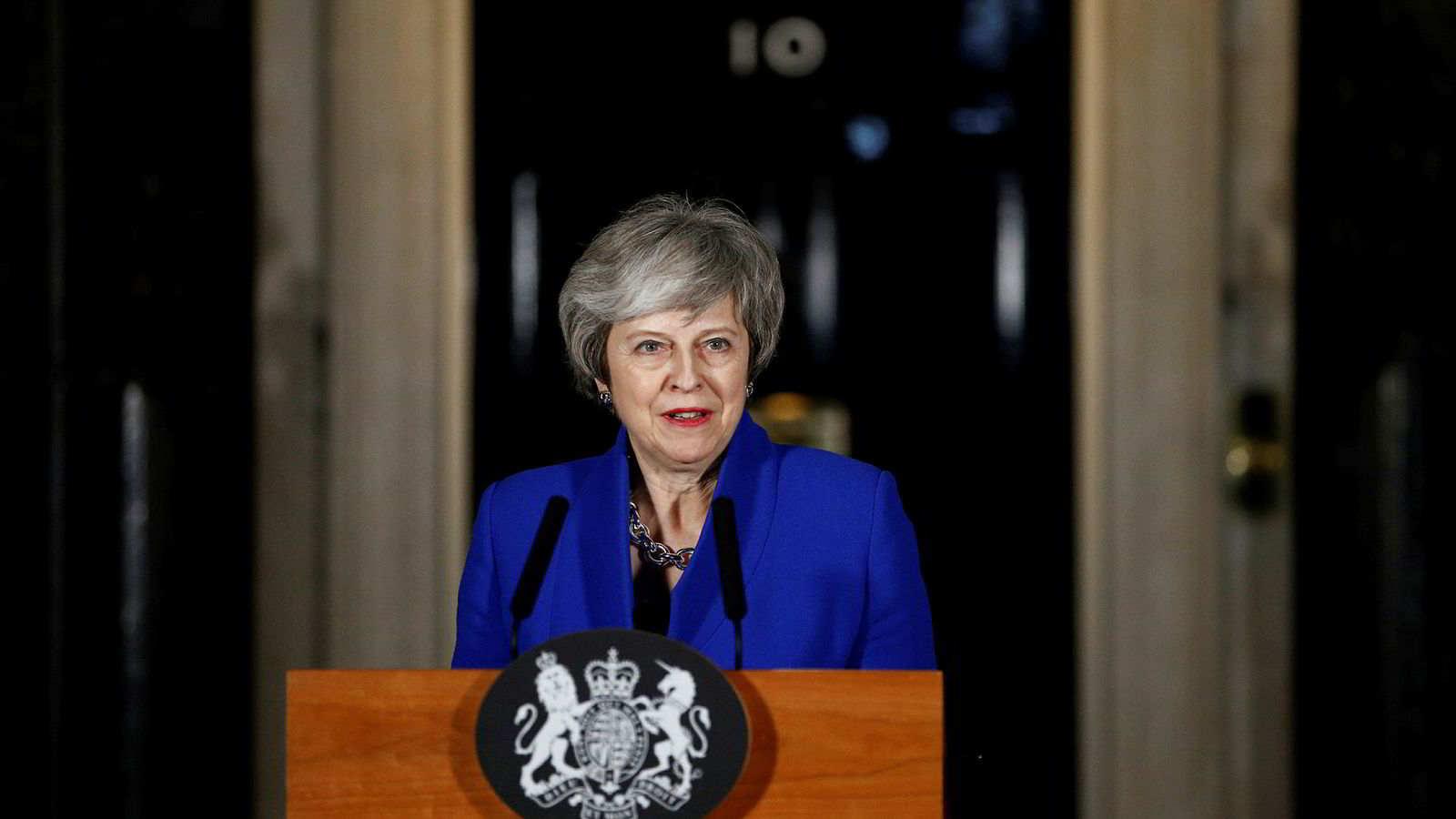 Storbritannias statsminister Theresa May kom med en kort uttalelse utenfor 10 Downing Street sent onsdag kveld.
