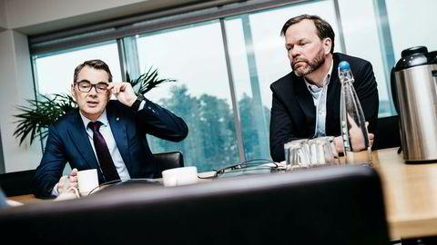 Det tok kun to dager fra Hydro-sjef Svein Richard Brandtzæg (til venstre) fikk vite om krisen ved Alunorte-anlegget, til produksjonskuttet på 50 prosent var en realitet. Her sammen med finansdirektør Eivind Kallevik.