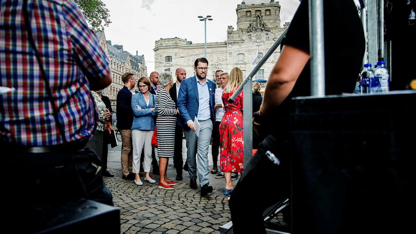 Jimmie Åkesson, partileder i Sverigedemikratene deltok på et valgmøte i Stockholm onsdag.
