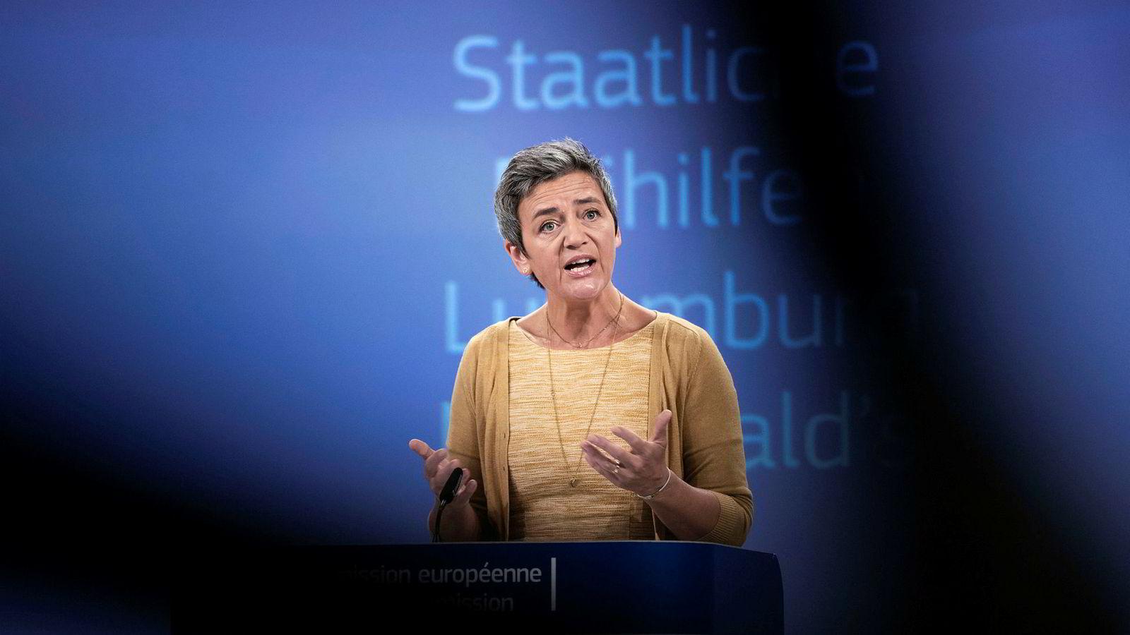 Margrethe Vestager (50) er EUs konkurransekommissær og tidligere dansk statsråd for det liberale partiet Radikale Venstre. Vestager er Emmanuel Macrons favorittkandidat til jobben.