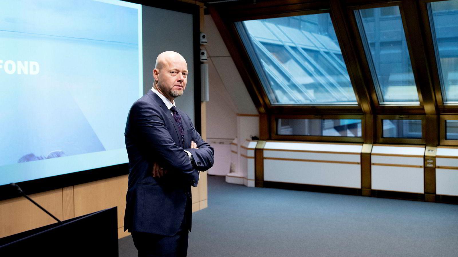 Yngve Slyngstad, sjef for oljefondet. Statens pensjonsfond utland presenterte i dag tallene for tredje kvartal 2018.