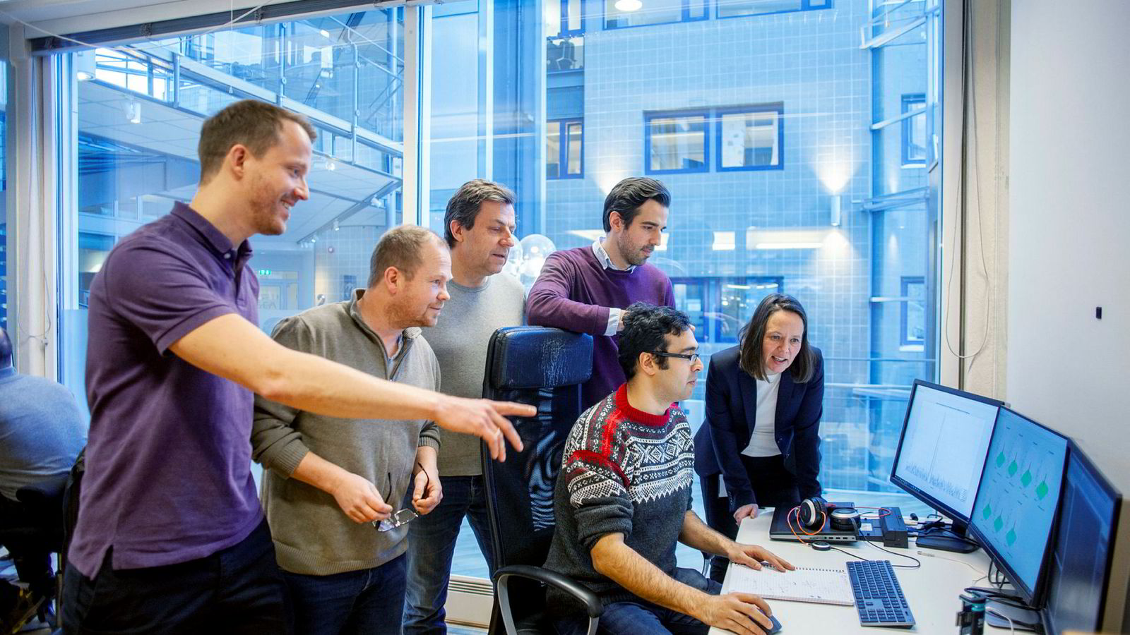 Det norske teknologiselskapet Novelda, med kun 35 ansatte, står bak teknologi som kan revolusjonere sensorbransjen. Fra venstre: Olav Liseth, Sigurd Pleym, Jan Roar Pleym, Eirik Hagem, Reza Parseh og Cornelia Mender.