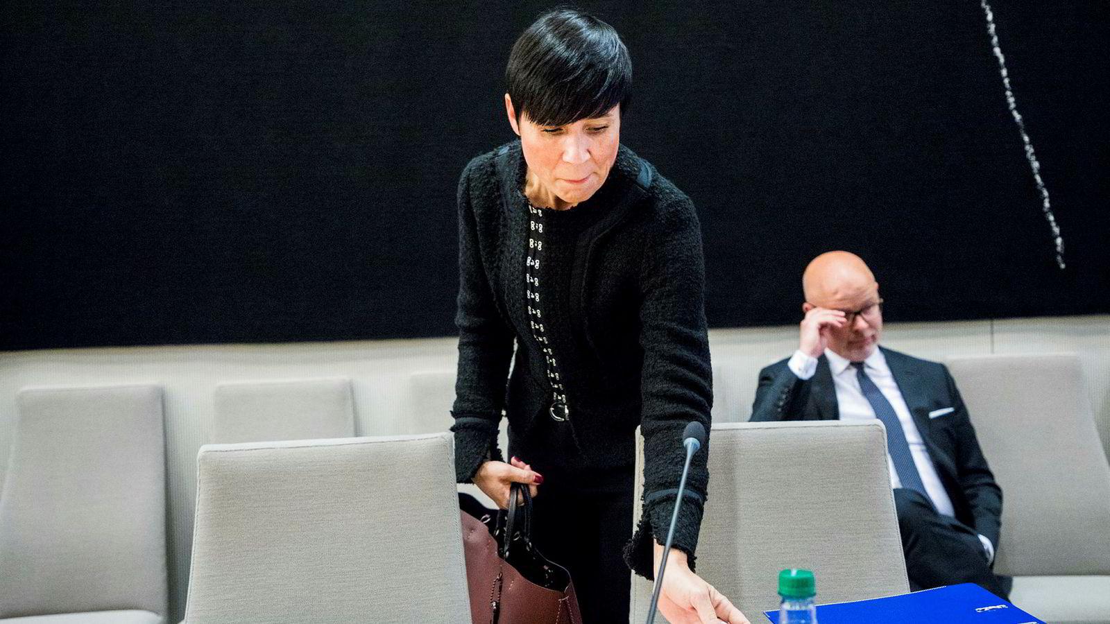 Utenriksminister Ine Eriksen Søreide (H), her fra høringen om objektsikring.