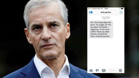 Denne sms-en ble sendt ut fra Ap sentralt til en halv million velgere søndag formiddag.