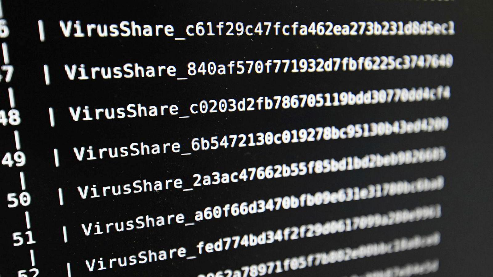 Dette bildet viser en liste over datavirus ved High Security Laboratory på National Institute for Research in Computer Science and Automation fra 2016. I juni 2017 sa en rekke selskaper, deriblant danske Møller Maersk og franske Saint-Gobain, at de var blitt hacket av et datavirus.