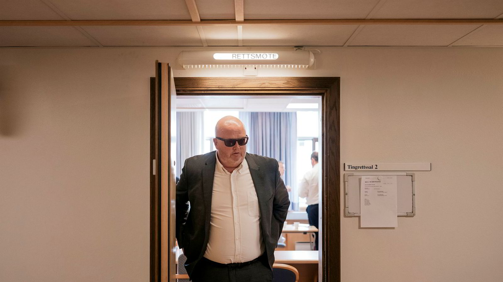 Tore Olav Slettemoen under en pause i tingretten i Stavanger.