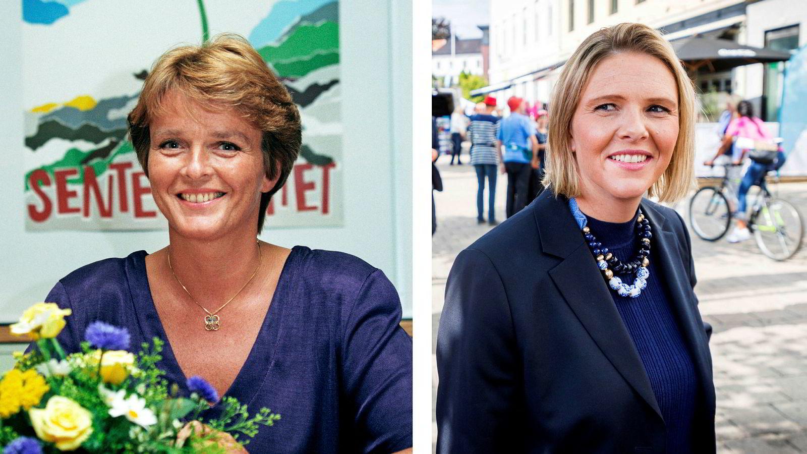 Til venstre: Nei-dronning i 1994 Anne Enger Lahnstein (Sp). Til høyre: Nei-dronning i 2018 Sylvi Listhaug (Frp).