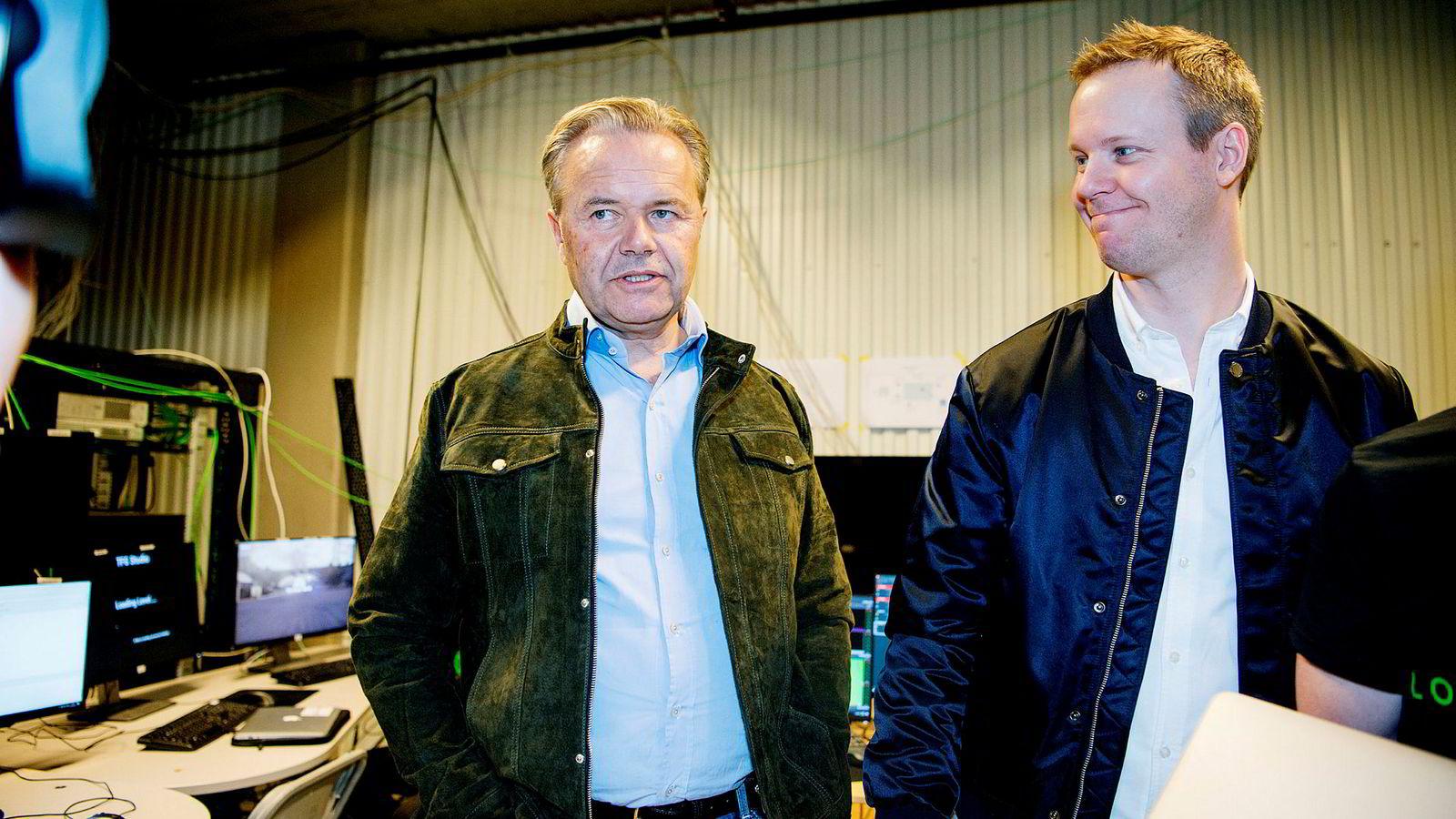 Stemningen var god da gründerne Jens Petter Høili (til venstre) og Bård Anders Kasin presenterte «Lost in Time»-konseptet til pressen i november 2016. Drøyt halvannet år etter er både Høili og Kasin ute av selskapet, og eierandelen deres er vannet ut.