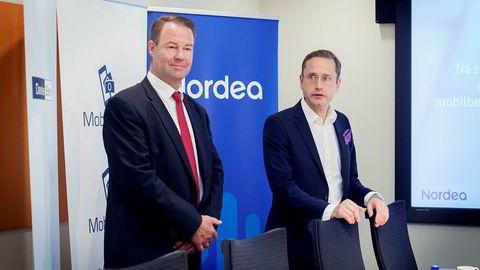 Igjen går de ut mot DNB: Danske Bank Norge-sjef Trond F. Mellingsæter (til venstre) og Nordeas Norge-sjef Snorre Storset reagerer på at banken ikke vil ta regningen for et nordisk system som kan muliggjøre straksbetaling mellom land.