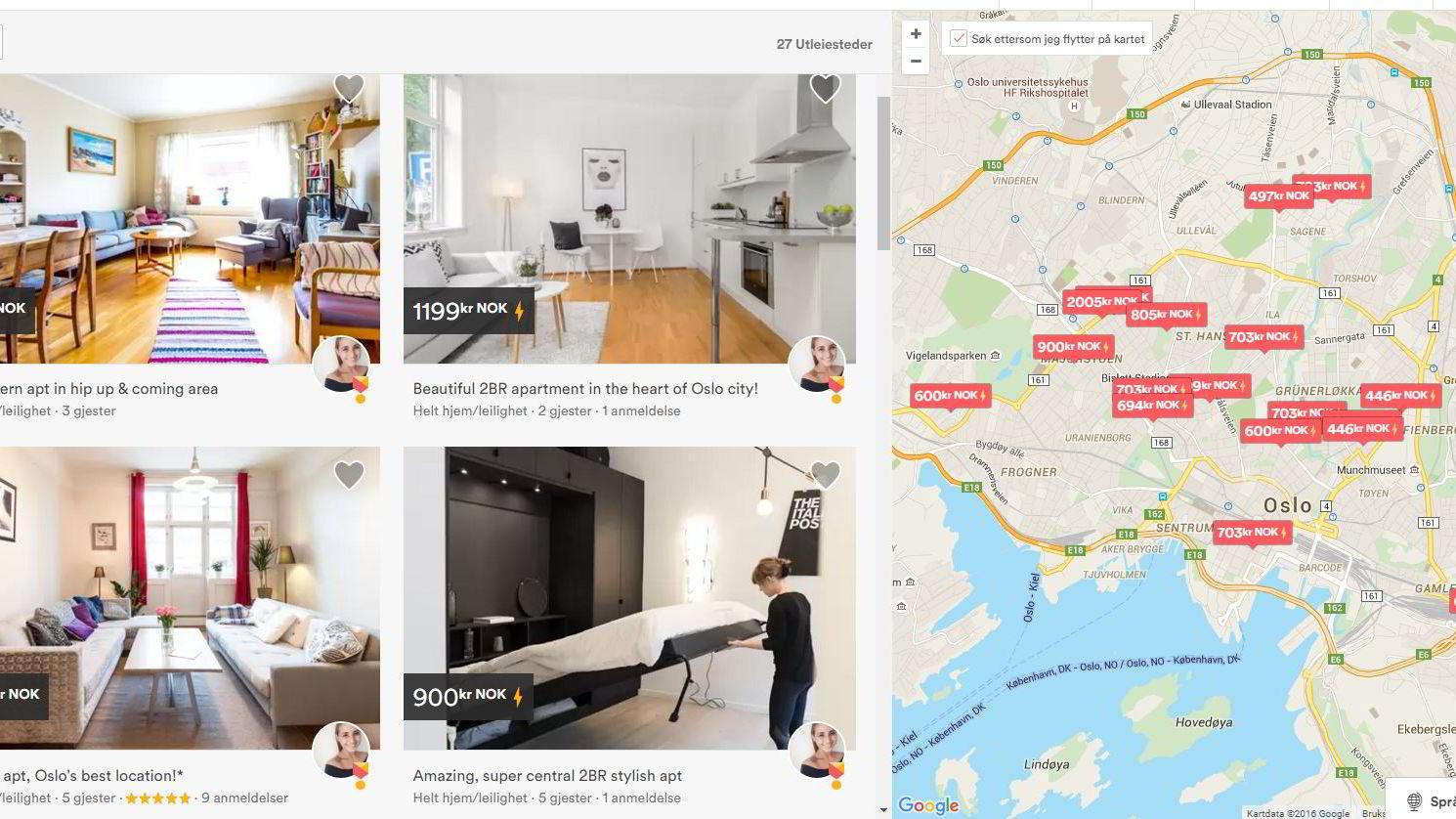 Nordmenn har leid ut bolig via Airbnb siden 2010. Airbnb melder om en årlig vekst i norske oppføringer på 129 prosent. Skjermdump: Airbnb.